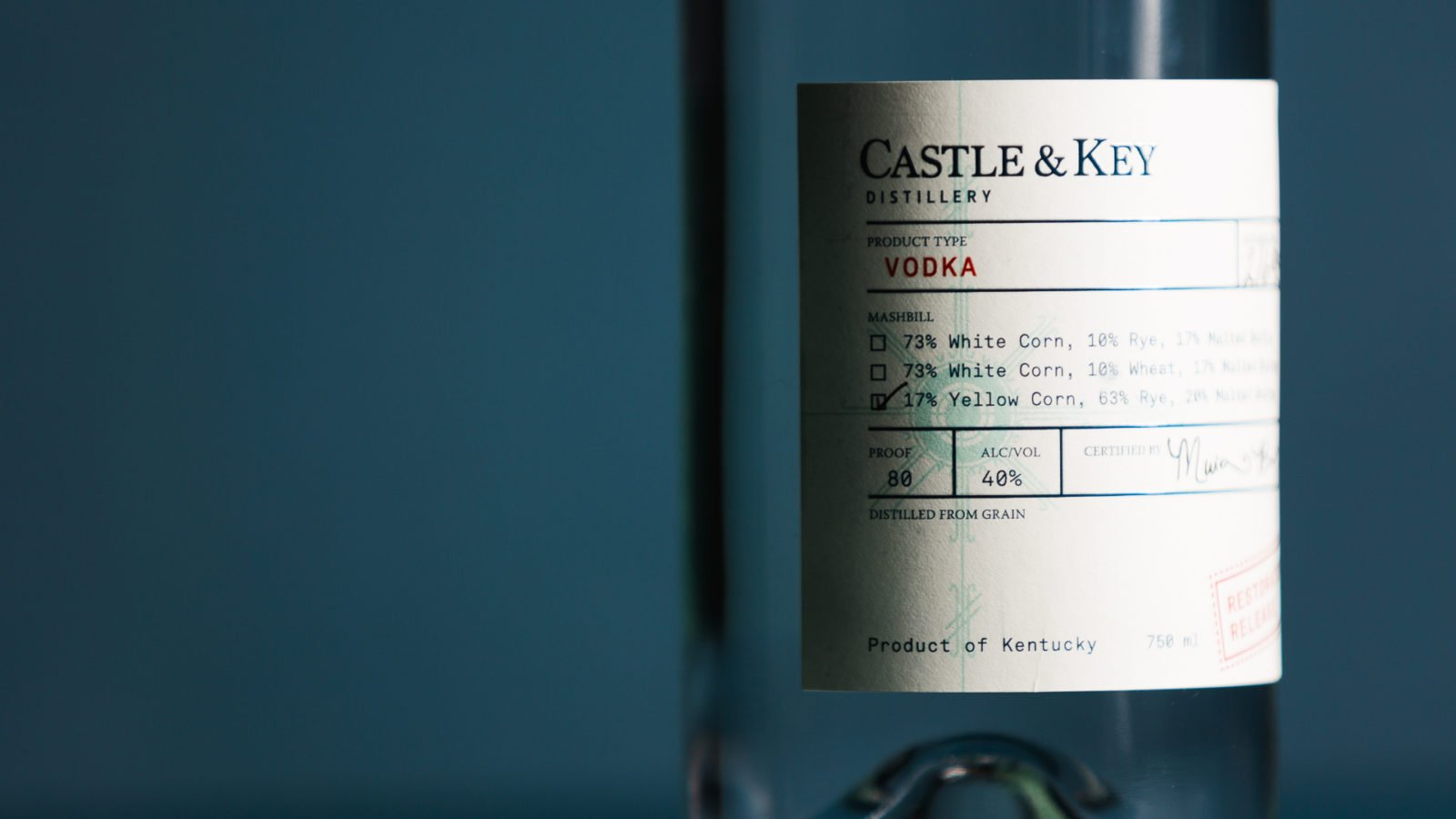 Castle & Key Restoration Release Vodka Bottle Design Closeup