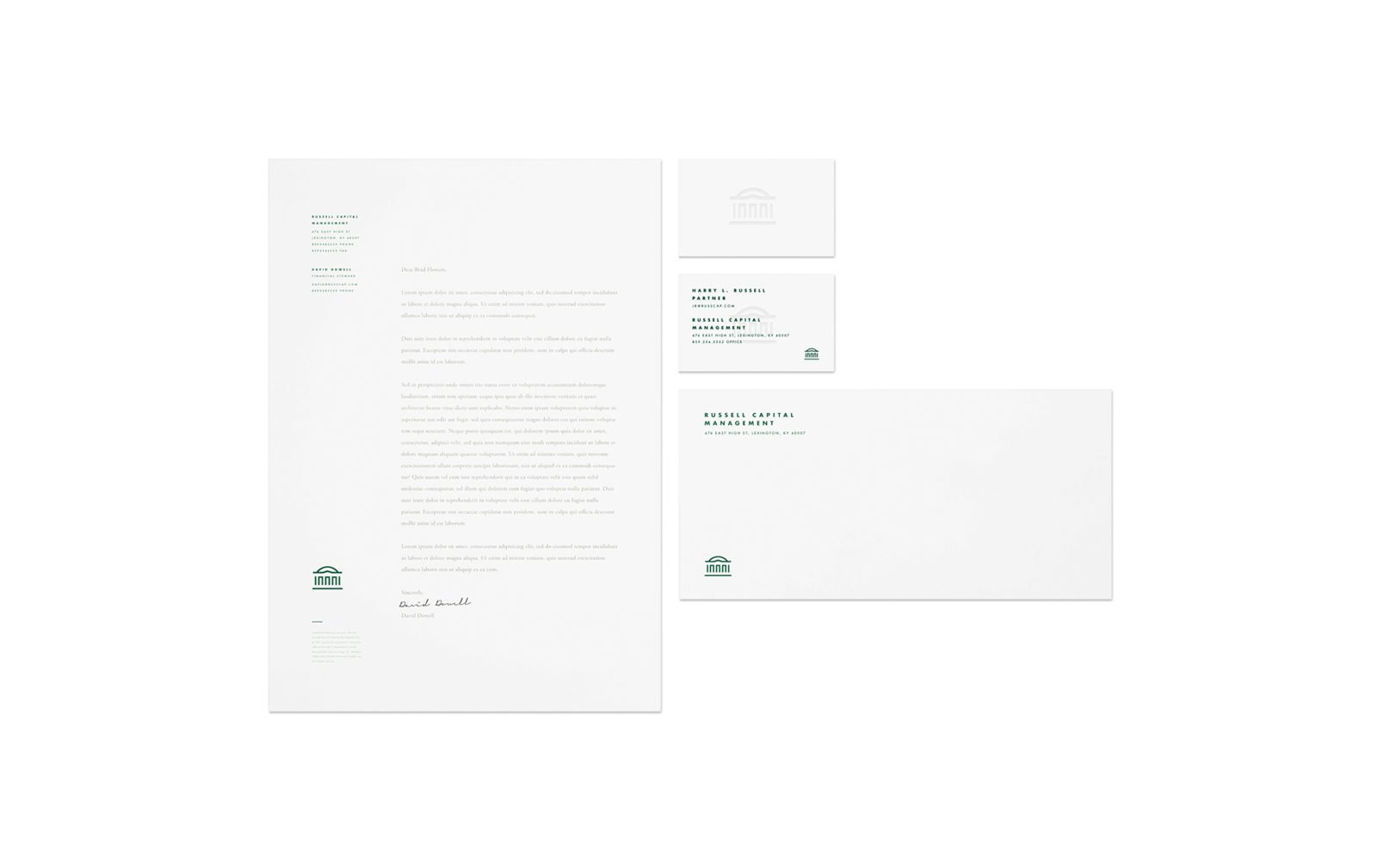 A Brand Identity for Russell Capital by Bullhorn Creative