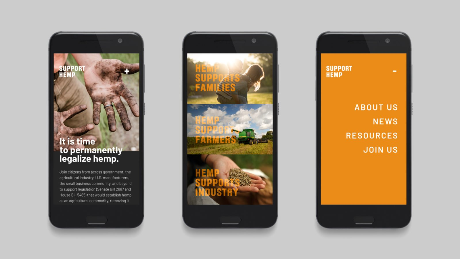 Industrial Hemp Campaign Branding for the US Hemp Roundtable Coalition Website Mobile Design