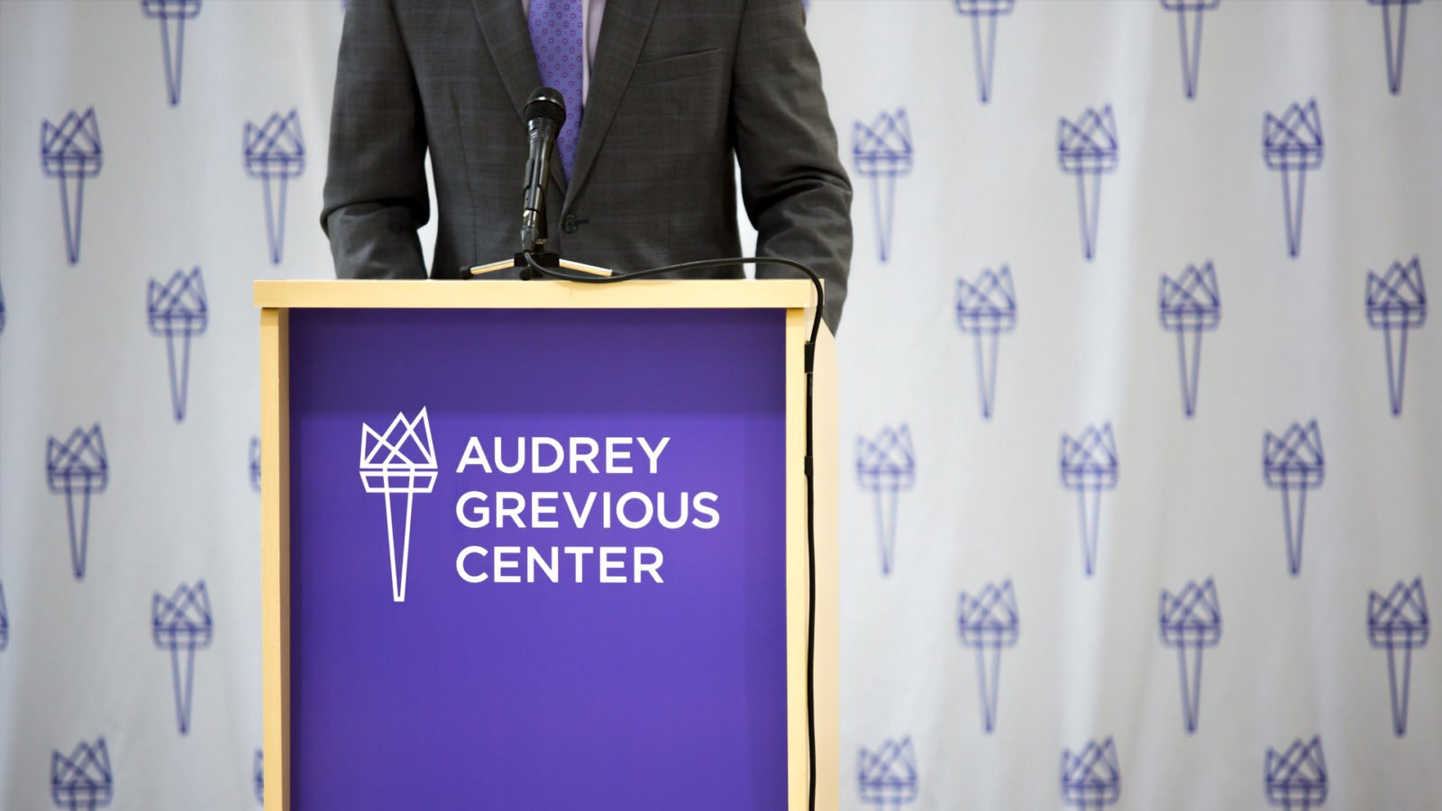 Brand Identity and podium for the Audrey Grevious Center School