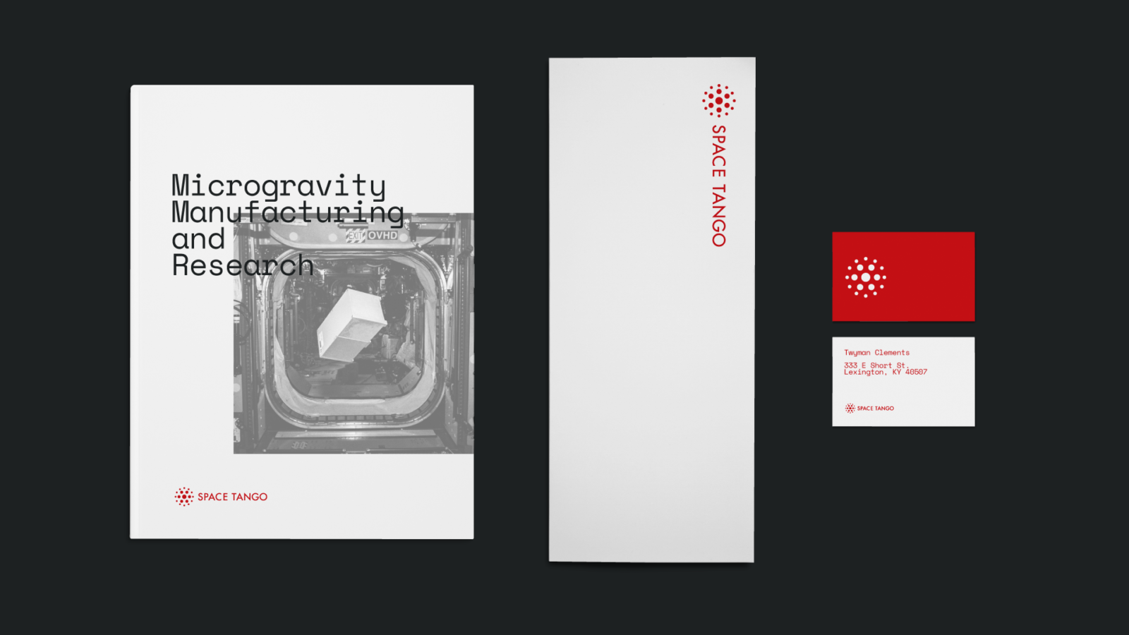 Brand Identity for Space Tango, a microgravity research and manufacturing stationery and marketing materials