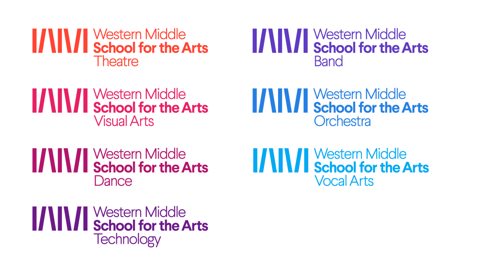 Brand family logo set for Western Middle School for the Arts, a Louisville performing arts school