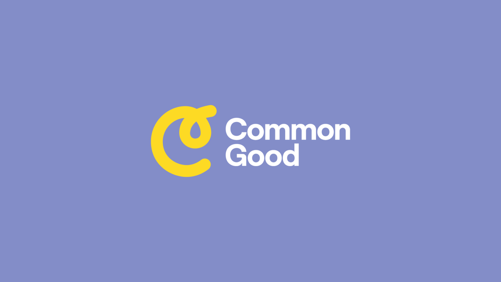 Common Good Logo in yellow on purple