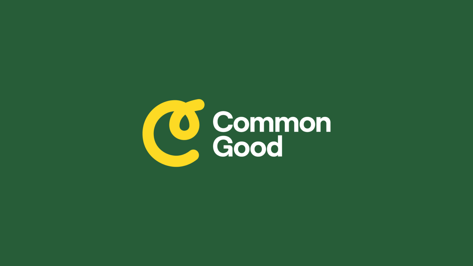 Common Good Logo in yellow on green